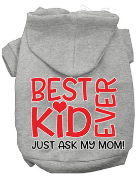 Ask My Mom Screen Print Dog Hoodie - Grey