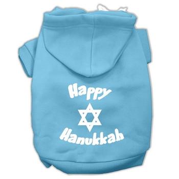 Happy Hanukkah Screen Print Pet Hoodies - Baby Blue