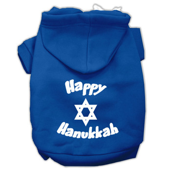 Happy Hanukkah Screen Print Pet Hoodies - Blue