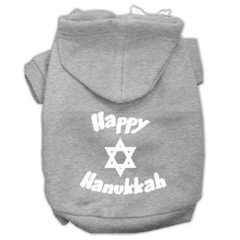 Happy Hanukkah Screen Print Pet Hoodies - Grey