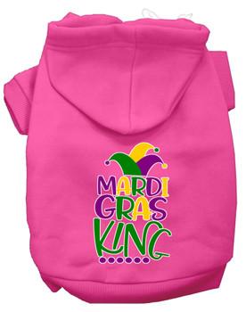 Mardi Gras King Screen Print Mardi Gras Dog Hoodie - Bright Pink