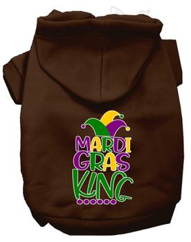 Mardi Gras King Screen Print Mardi Gras Dog Hoodie - Brown