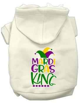 Mardi Gras King Screen Print Mardi Gras Dog Hoodie - Cream
