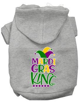 Mardi Gras King Screen Print Mardi Gras Dog Hoodie - Grey