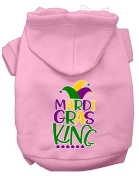 Mardi Gras King Screen Print Mardi Gras Dog Hoodie - Light Pink