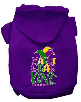 Mardi Gras King Screen Print Mardi Gras Dog Hoodie - Purple