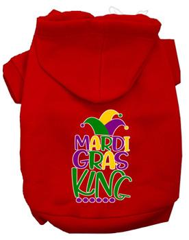 Mardi Gras King Screen Print Mardi Gras Dog Hoodie - Red