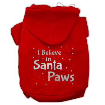 Screenprint Santa Paws Pet Hoodies - Red