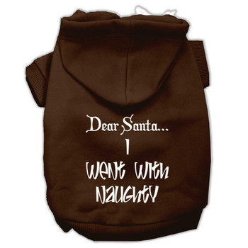 Dear Santa I Went With Naughty Screen Print Pet Hoodies - Brown