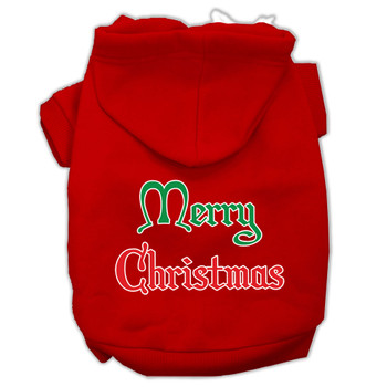 Merry Christmas Screen Print Pet Hoodies - Red