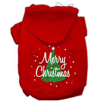 Scribbled Merry Christmas Screenprint Pet Hoodies - Red
