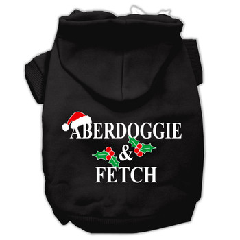 Aberdoggie Christmas Screen Print Pet Hoodies - Black