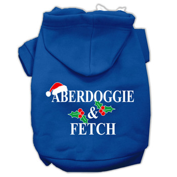 Aberdoggie Christmas Screen Print Pet Hoodies - Blue