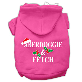 Aberdoggie Christmas Screen Print Pet Hoodies - Bright Pink