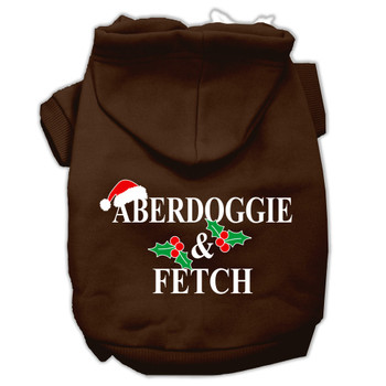 Aberdoggie Christmas Screen Print Pet Hoodies - Brown