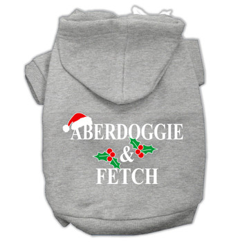 Aberdoggie Christmas Screen Print Pet Hoodies - Grey