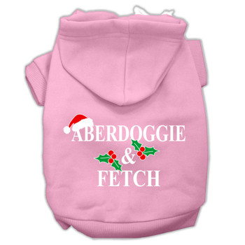 Aberdoggie Christmas Screen Print Pet Hoodies - Light Pink