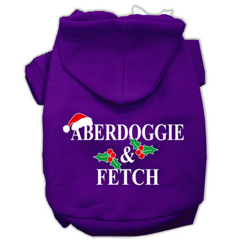 Aberdoggie Christmas Screen Print Pet Hoodies - Purple