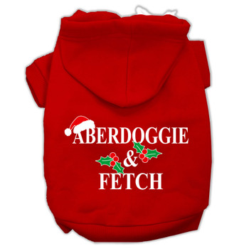 Aberdoggie Christmas Screen Print Pet Hoodies - Red