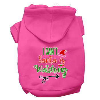 I Can't, Santa Is Watching Screen Print Dog Hoodie - Bright Pink