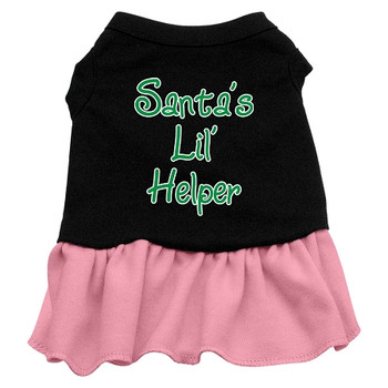 Santa's Lil Helper Screen Print Dress - Black With Pink