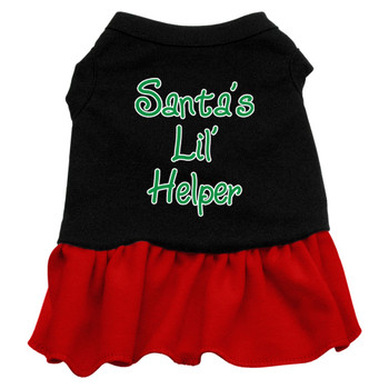 Santa's Lil Helper Screen Print Dress - Black With Red