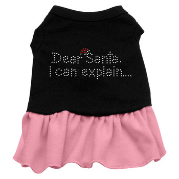 Dear Santa Rhinestone Dress - Black With Pink