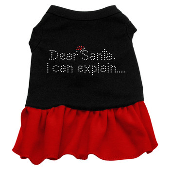 Dear Santa Rhinestone Dress - Black With Red