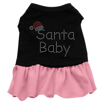 Santa Baby Rhinestone Dress - Black With Pink