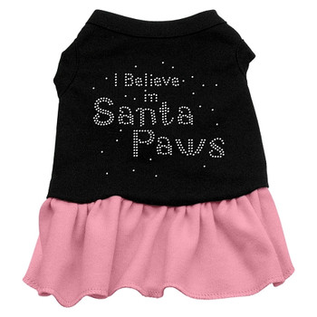 Santa Paws Rhinestone Dress - Black With Pink