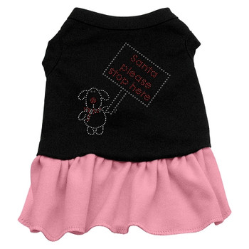 Santa Stop Here Rhinestone Dress - Black With Pink