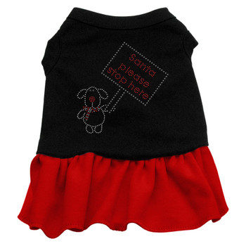 Santa Stop Here Rhinestone Dress - Black With Red