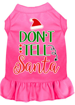 Don't Tell Santa Screen Print Dog Dress - Bright Pink