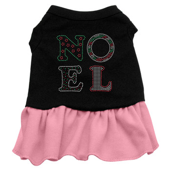 Noel Rhinestone Dress - Black With Pink