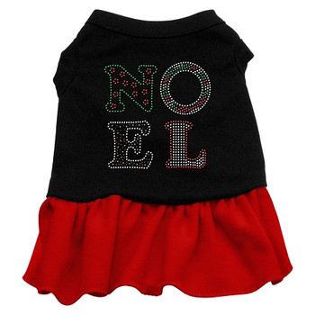 Noel Rhinestone Dress - Black With Red