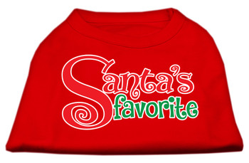 Santas Favorite Screen Print Pet Shirt - Red
