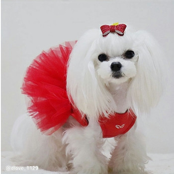 Puppy Angel Tutu Dog Dress - Red