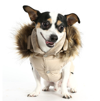 Love Down Hood Detachable Fur Trim High Vest - Beige