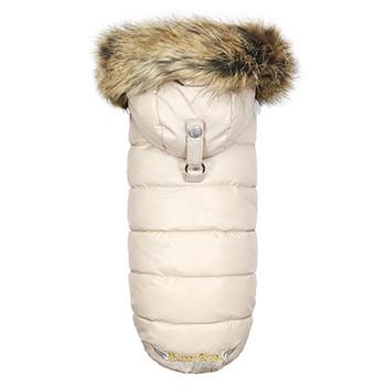 Love Down Hood Detachable Fur Trim High Vest - Beige