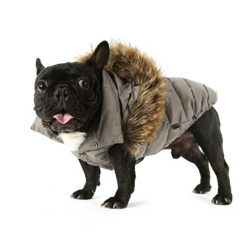 Love Down Hood Detachable Fur Trim High Vest - Gray