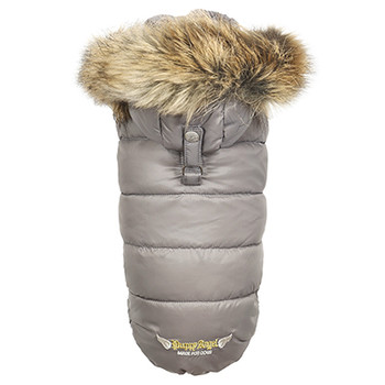 Love Down Hood Detachable Fur Trim High Vest - Gray