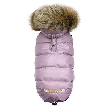 Love Down Hood Detachable Fur Trim High Vest - Pink