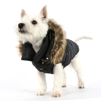 Love Down Hood Detachable Fur Trim High Vest - Black
