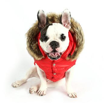 Love Down Hood Detachable Fur Trim High Vest - Red