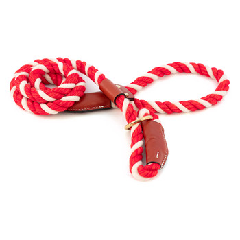 Cotton Rope Slip Leash with Leather Accents - Red & White