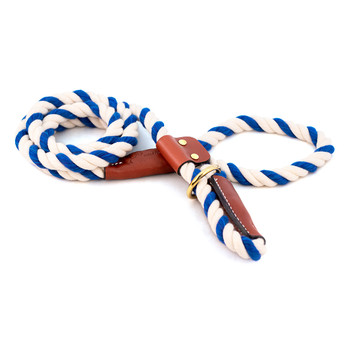 Cotton Rope Slip Leash with Leather Accents - Blue & White