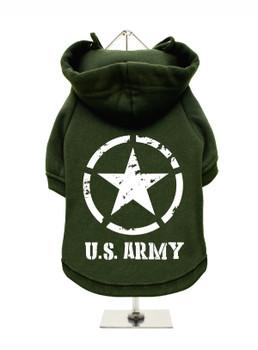 U.S. Army Fleece-Lined Dog Hoodie / Sweatshirt