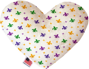 Confetti Fleur De Lis Mardi Gras Heart Dog Toy, 2 Sizes