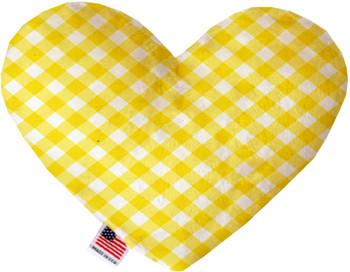 Yellow Plaid Heart Dog Toy, 2 Sizes