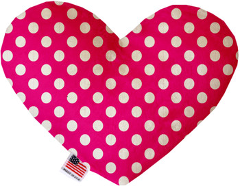 Hot Pink Swiss Dots Heart Dog Toy, 2 Sizes